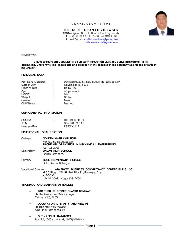 resume of mr  villasis nelson p  2016 r1