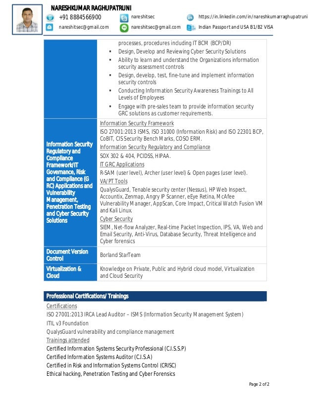 Resume of Naresh Raghupatruni