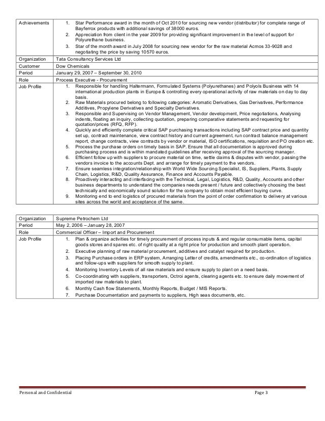 resume of parag