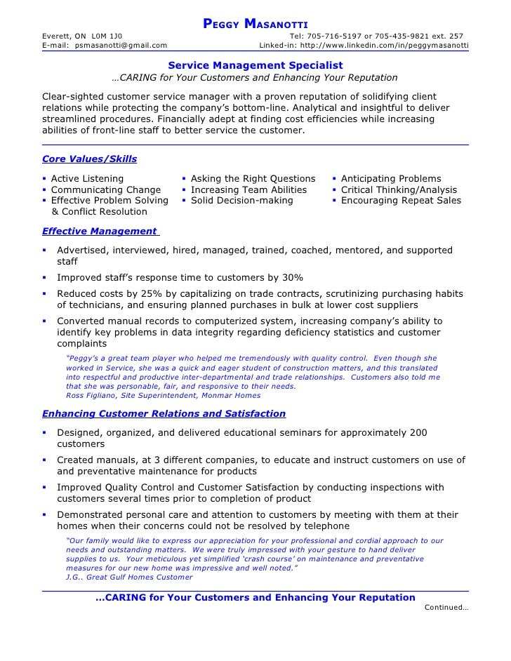 resume of peggy masanotti service management specialist