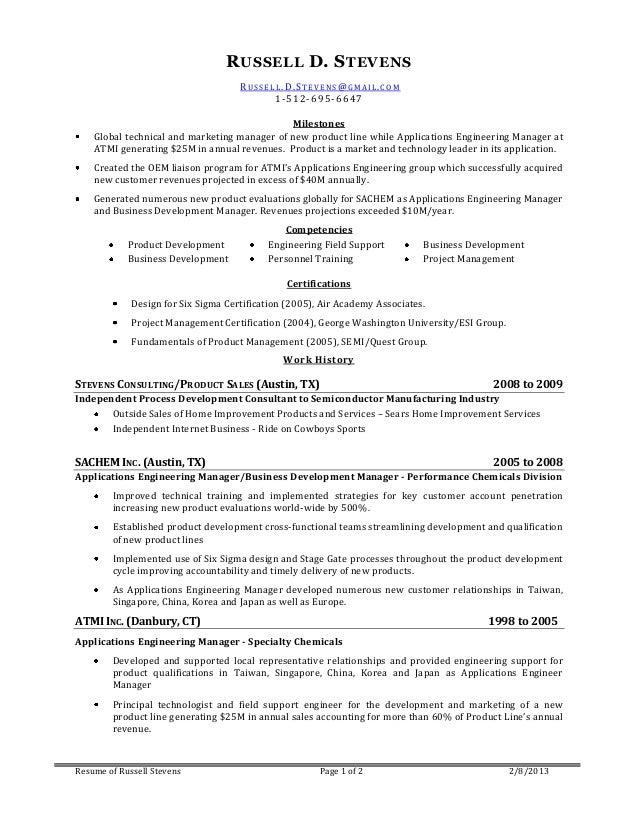 Resume of Russell Stevens 2013