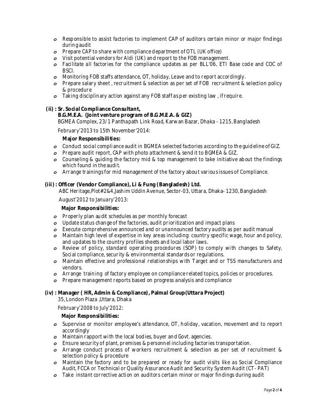 resume of shameem ahamed - Social Compliance Auditor Sample Resume