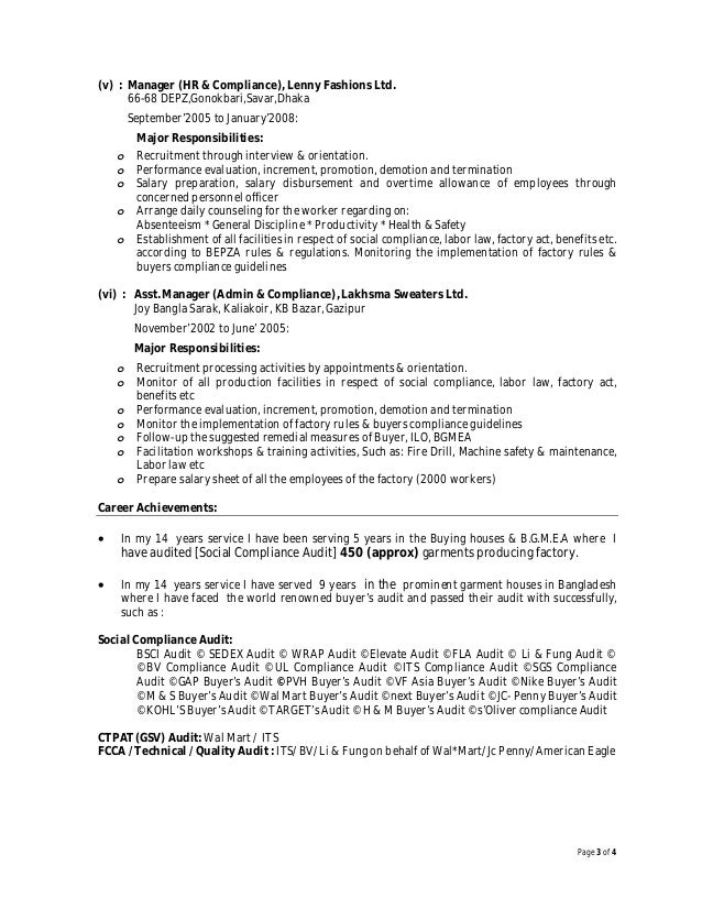 findings during audit 3 - Social Compliance Auditor Sample Resume