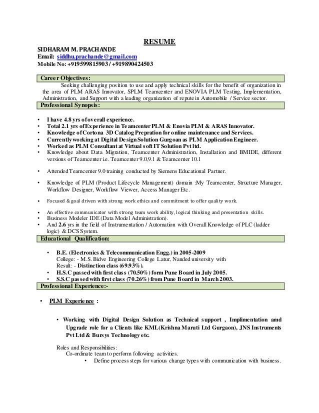 resume of sidharam prachcande plm consultant