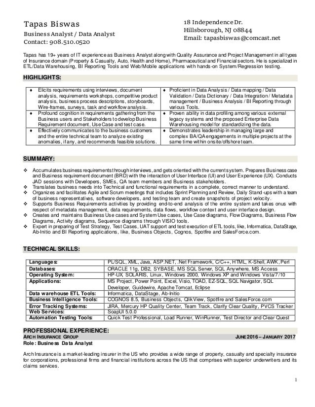 resume of tapas biswas business analyst