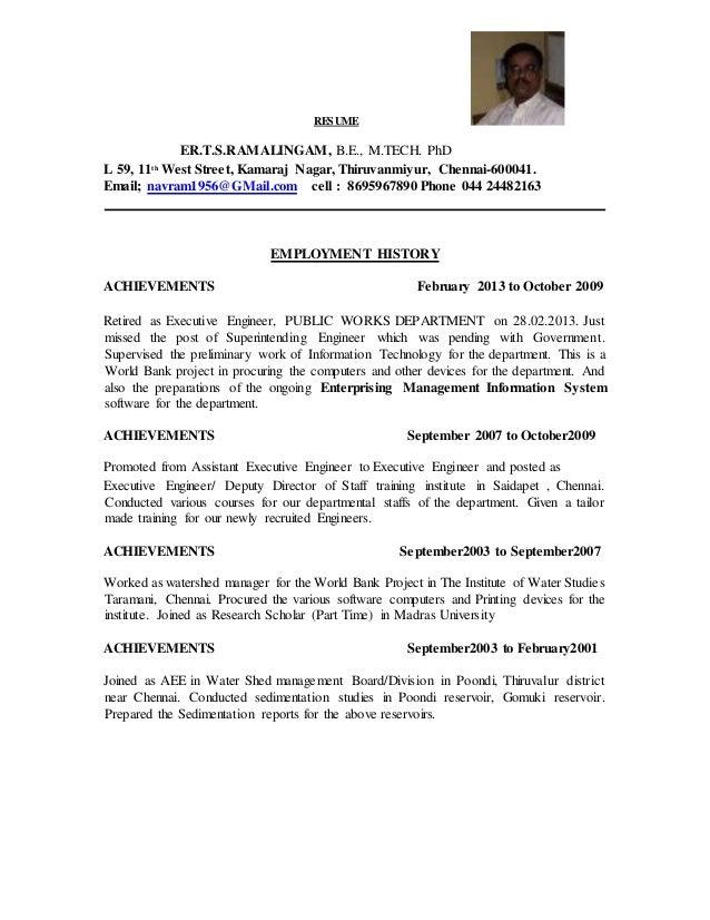 Resume of tsr