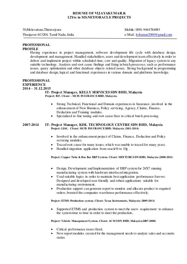 Resume of vijayakumar 12 yrs in oracle plsql mssql experiences in it …