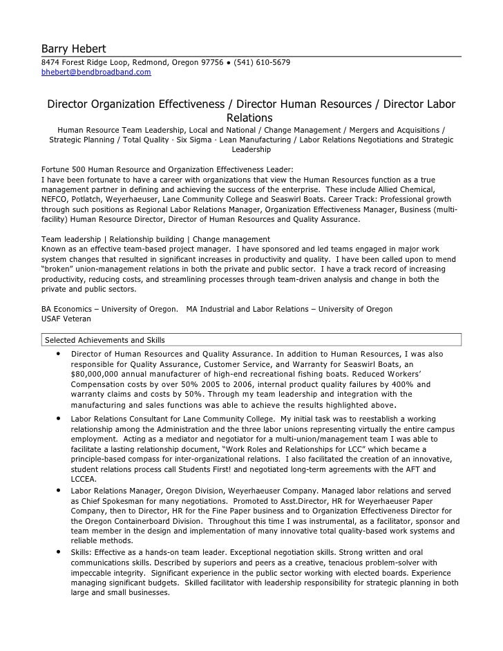 Beautiful HR Director Resume. Barry Hebert 8474 Forest Ridge Loop, Redmond, Oregon  97756 ○ (541) 610 Regarding Director Of Human Resources Resume