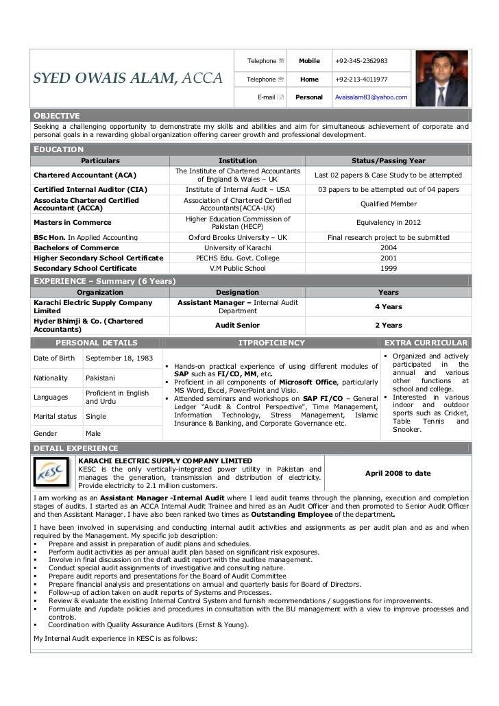 SlideShare  Internal Auditor Resume