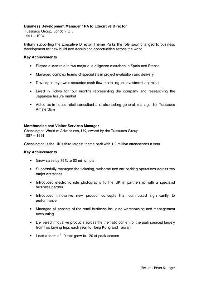 parks manager resume