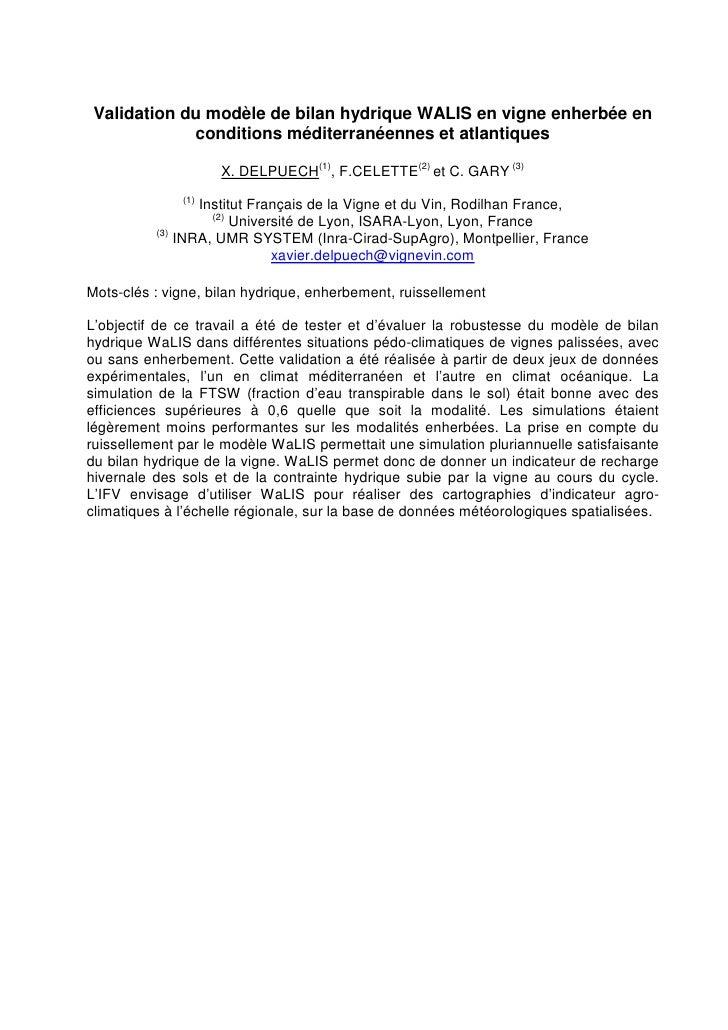 Validation du modèle de bilan hydrique WALIS en vigne enherbée en             conditions méditerranéennes et atlantiques  ...