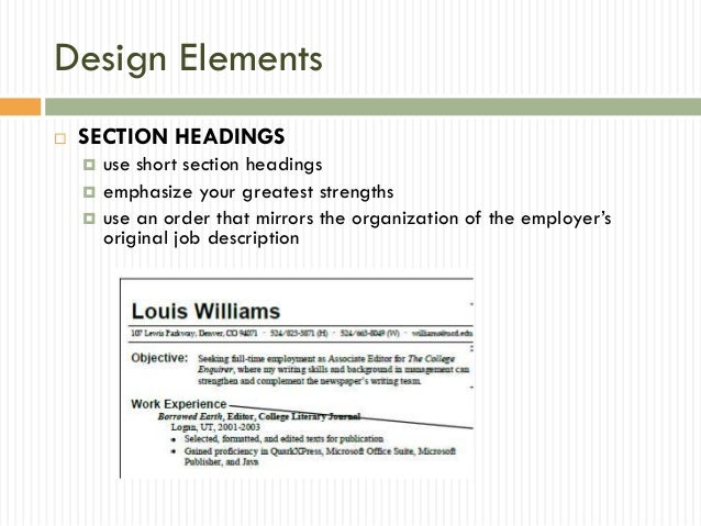 10 design elements - Elements Of A Resume