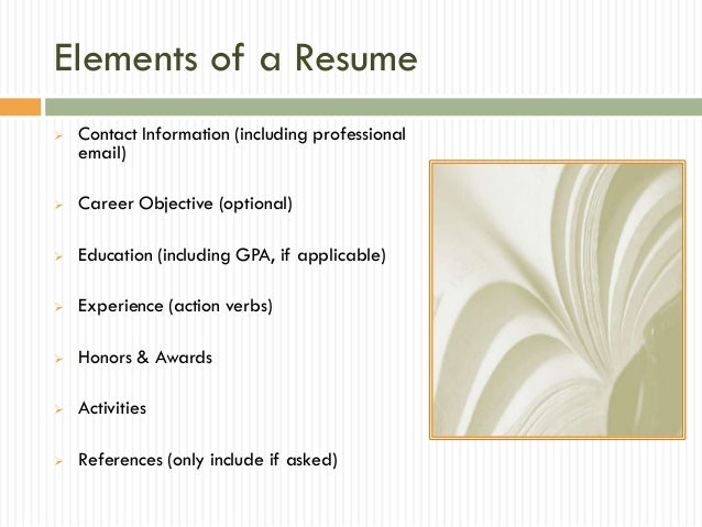 elements - Elements Of A Resume