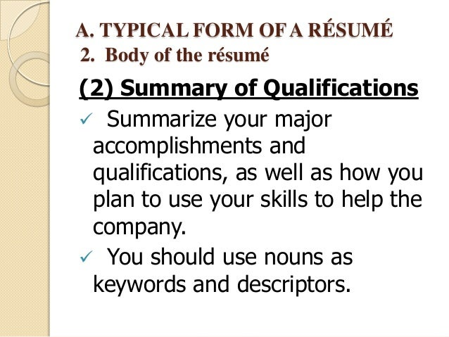 write a summary of qualifications