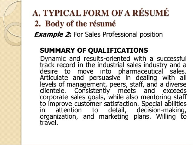 examples of brief summary for resume