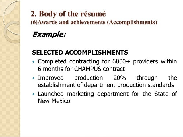 how to write accomplishments in resumes