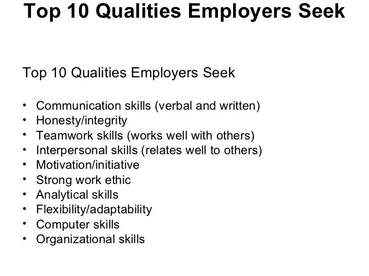 Marvelous Skills ...  Resume Qualities