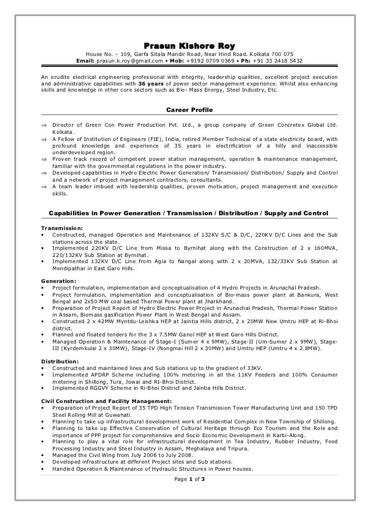 Thermal power plant resume
