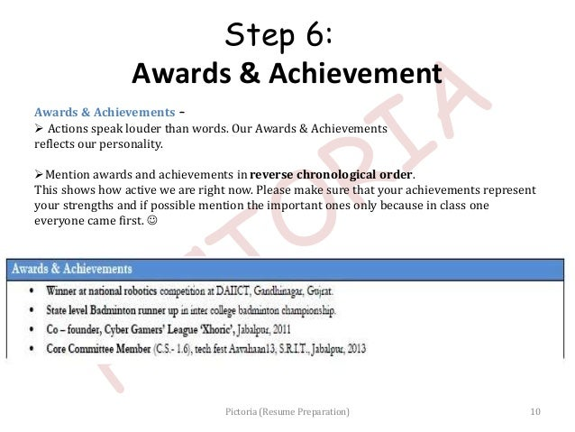 Resume preparation pictoria slideshow