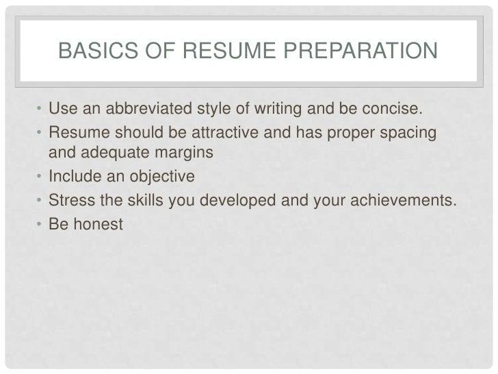 Resume preparation service