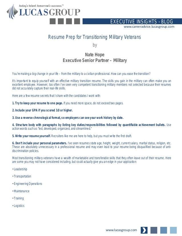 resume prep for transitioning military veterans