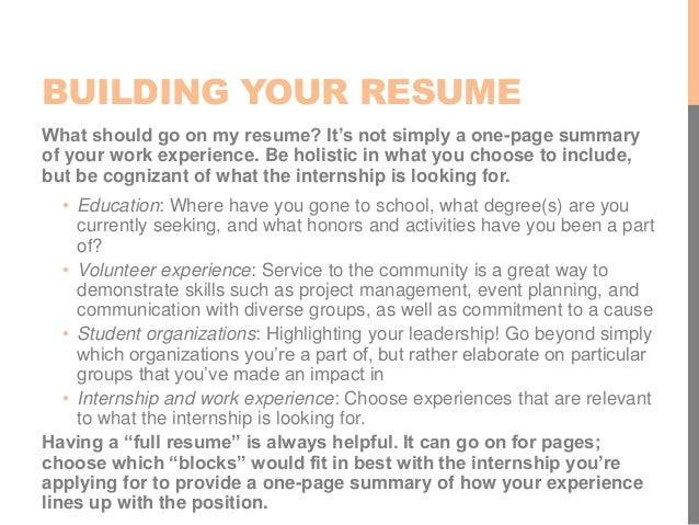 BUILDING YOUR RESUME; 5.  Go Resume