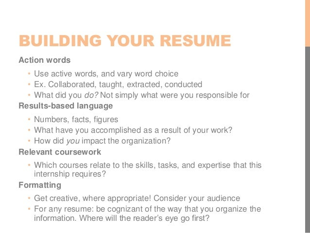 BUILDING YOUR RESUME ...  Tips For Building A Resume