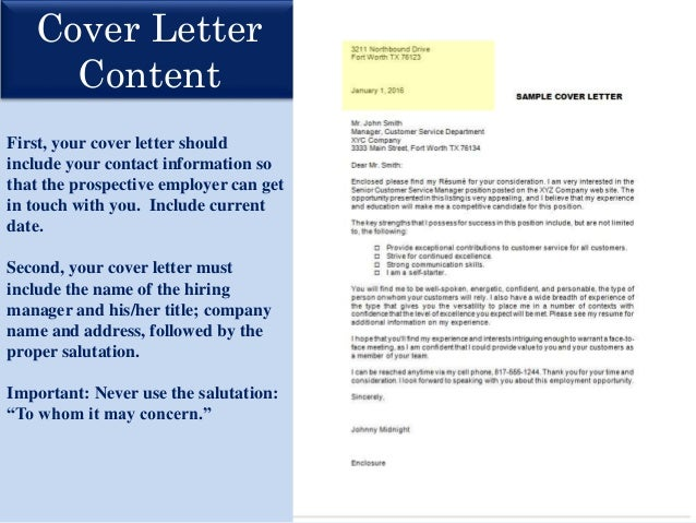 Great Cover Letter Content First, Your Cover Letter Should Include ...