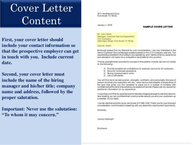 what should i include in a cover letters