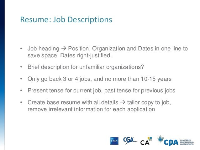 Resume: Job Descriptions U2022 Job Heading ...  Heading For Resume