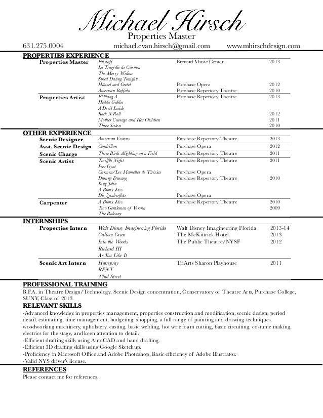 Properties Master 631.275.0004 Michael.evan.hirsch@gmail.com Www.  Master Resume