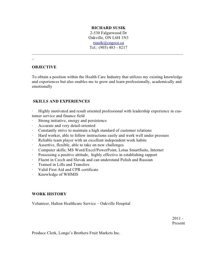 Resume psw for Sample resume for personal care worker