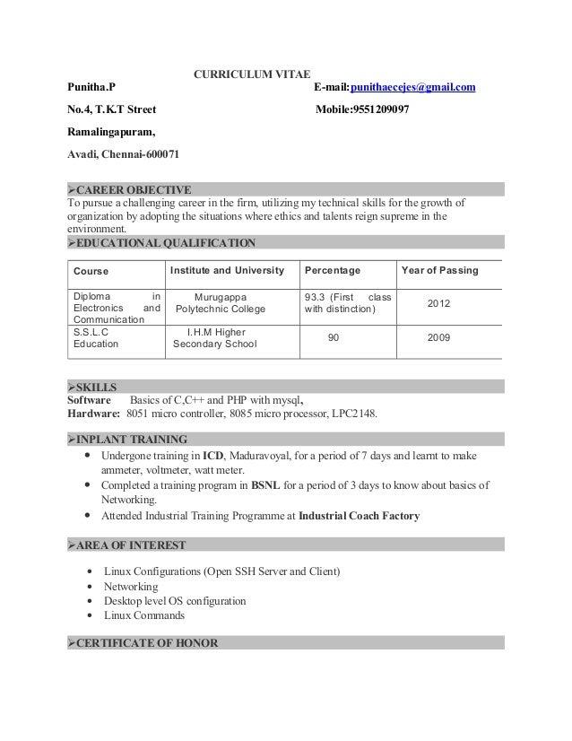 resume punitha