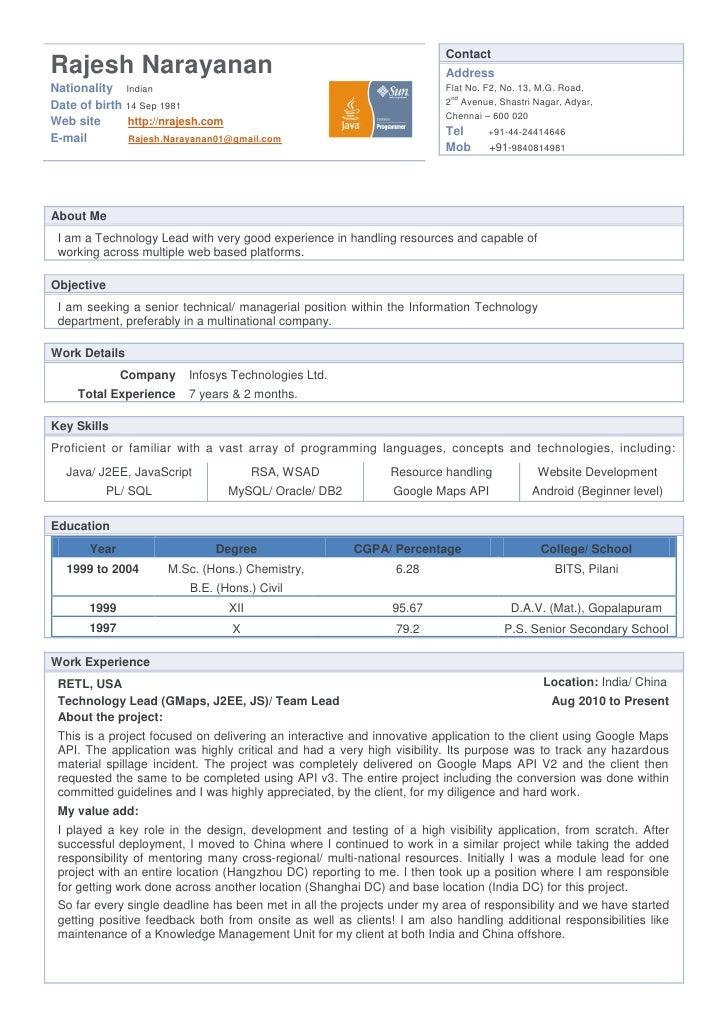 resume rajesh narayanan