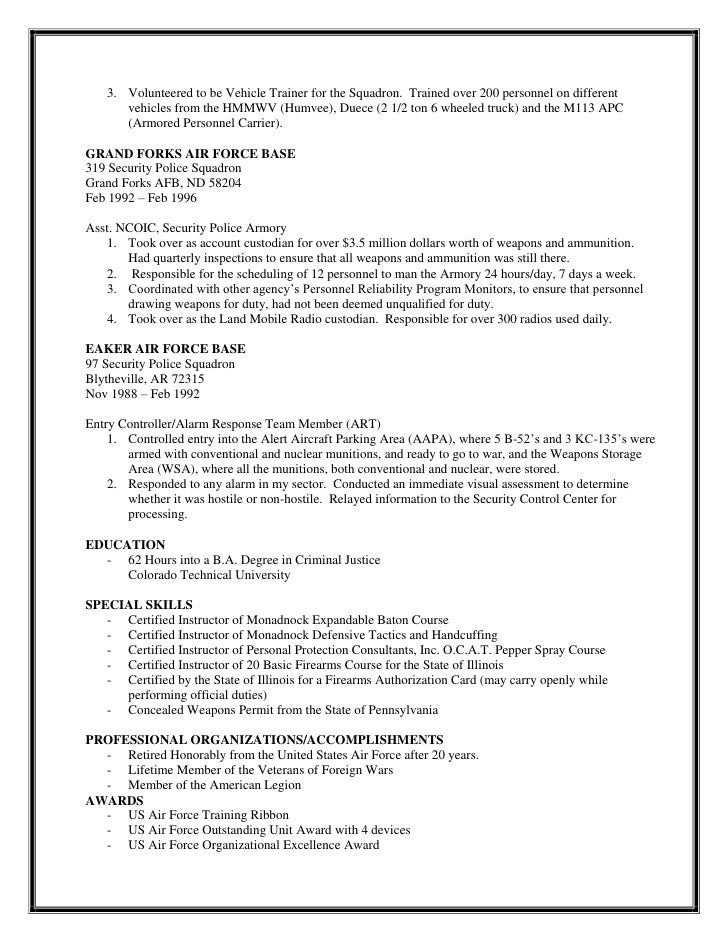 resume chief of security