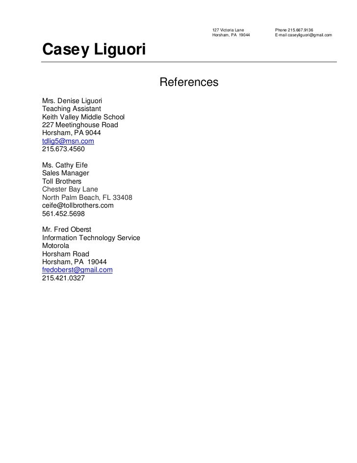 resume references sample 2010