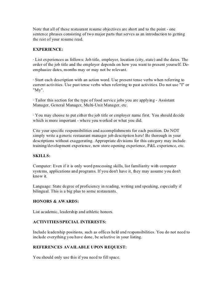 objective for resume for restaurant 33 images