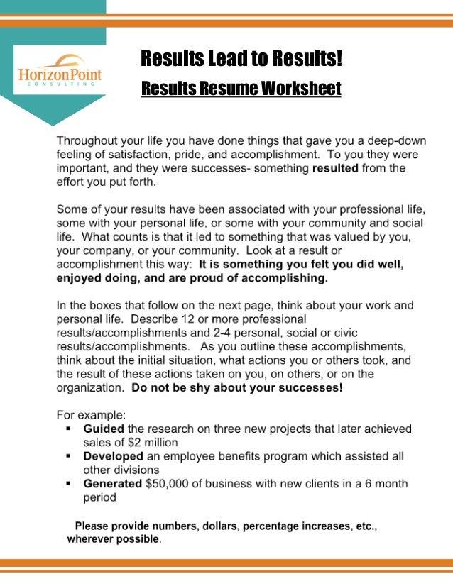Results Resume Worksheet ...  Resume Worksheet