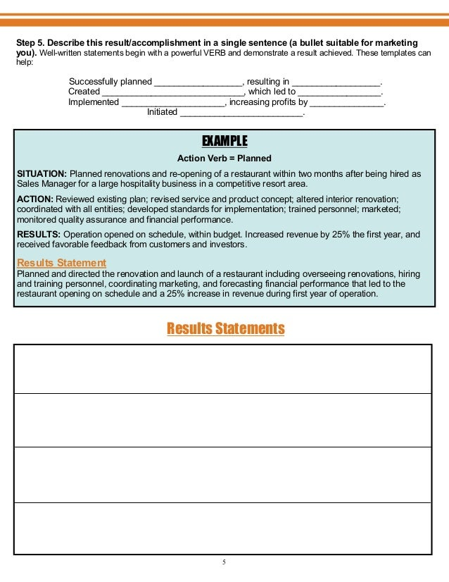 Resume Results Statement - Manual Guide Example 2018 •