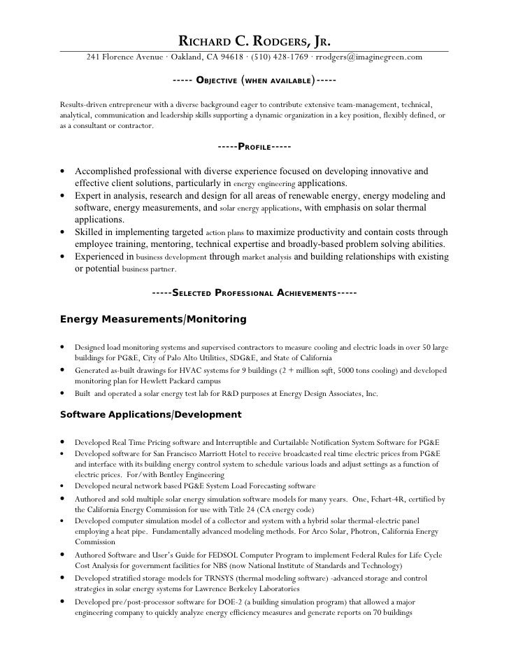 Resume Richard C Rodgers Jr Revised 4 21 09