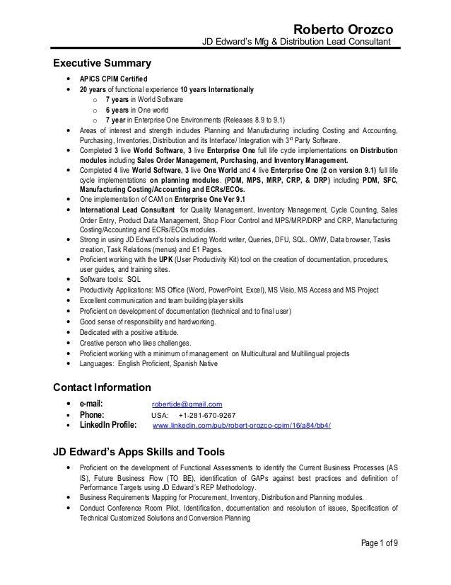 Resume roberto orozco jd edwards mfg & distribution lead consultant