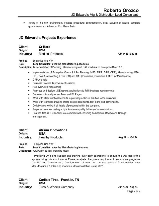 resume roberto orozco jd edwards mfg  u0026 distribution lead