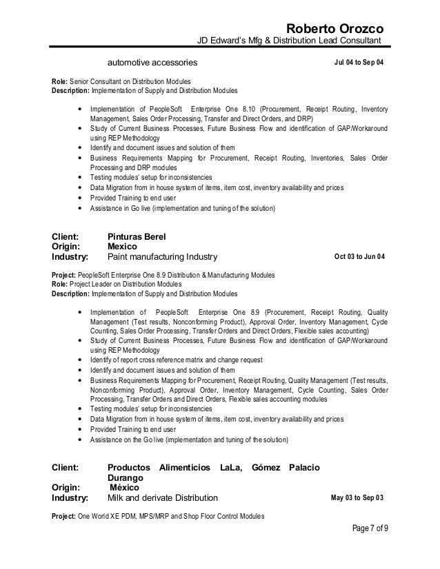 resume roberto orozco jd edwards mfg distribution lead consultant