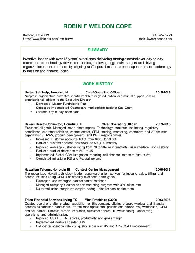 resume for robin weldon cope