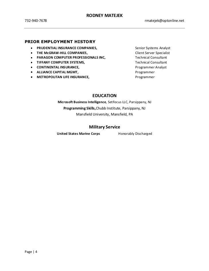 resume rodney matejek bi professional
