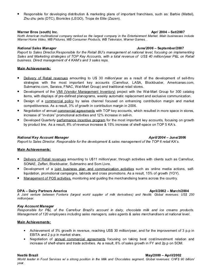 sales manager responsible development market resume