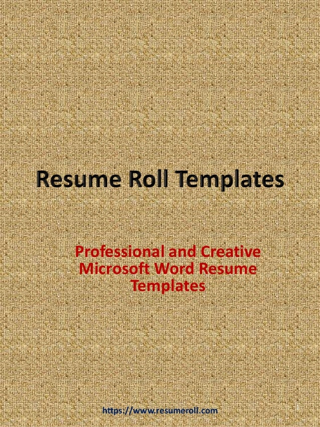 Resume Roll Creative Microsoft Word Templates