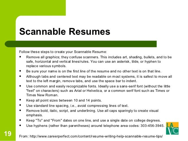 scannable resumes - Scannable Resume Format