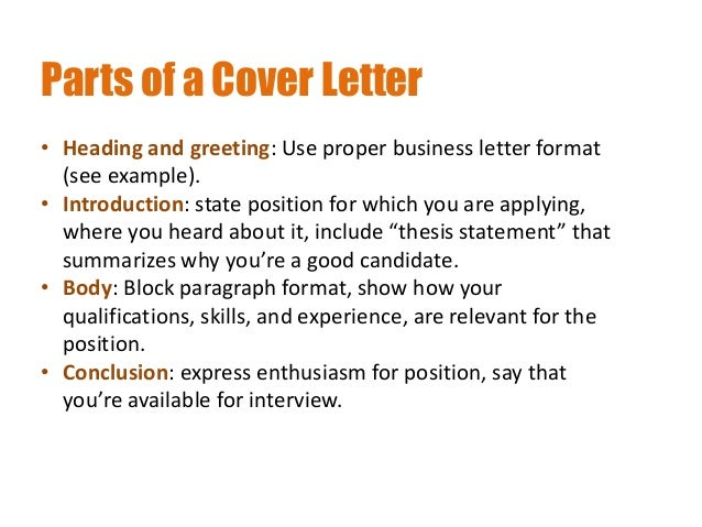 ... Targeted COVER LETTER; 10.  What To Include In A Resume Cover Letter