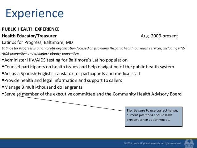 10. Experience PUBLIC HEALTH ...  Public Health Resumes